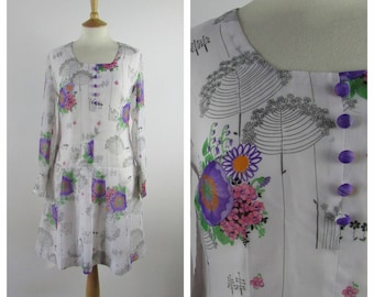 Vintage 1960s Shift Dress - Floral 60s Mod Dress - 60s Hippie Boho - Long sleeved - Medium - UK 12-14 / US 8-10 / EU 40-42