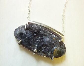 Sterling Silver Prong-Set Druzy Quartz Crystal Necklace, Modern Minimal, Handmade, Balancing Healing Energy Stone, OOAK, Moon Rocks Pendant