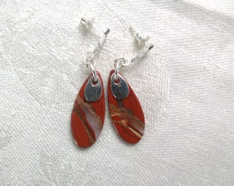 Red river jasper earrings. Red oval and sterling drop earrings.