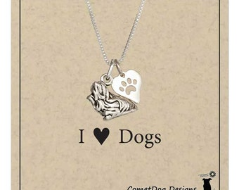 Yorkie pendant etsy sterling silver yorkie yorkshire terrier pendant necklace with dog paw print heart charm dog aloadofball Choice Image