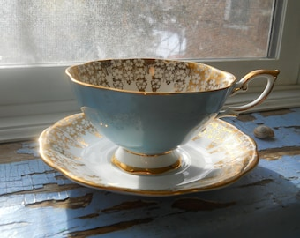 Royal Standard Robins egg blue, and Gold teacup and saucer
