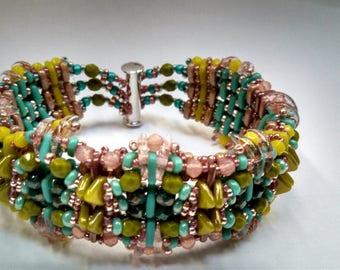 """Handmade Bracelet Czech Japan Glass Beads Silver Clasp 7"""" Pink Green Blue NEW by Artist Rochelle Peterson: Cinderella's Reckless Daughter"""