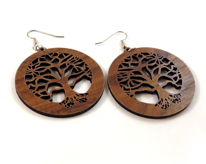 Featured listing image: Tree of Life Sustainable Wooden Earrings - in Walnut - Wood Dangle Hook Earrings
