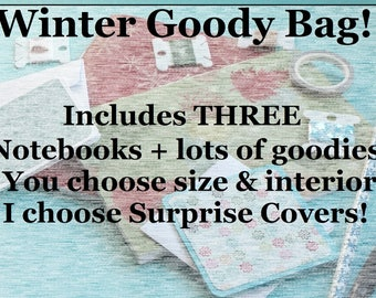 Winter/Snowflake/Pine Tree Surprise Goody Bag! 3 Surprise Notebook/Traveler's Inserts - Passport/Field Notes/Personal/B6/B6 Slim/A6/Standard