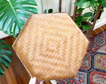 Vintage hexagon Wall Basket  • Woven Bamboo Basket • Bohemian Decor