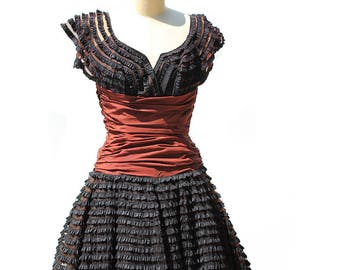 Vintage Black and Rust Brown Cap Sleeve Lace Dress