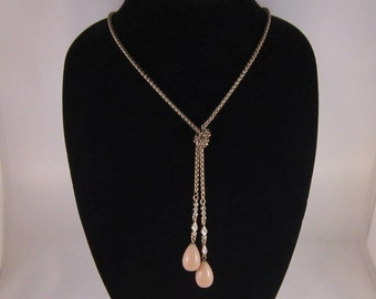 Vintage Trifari Lariat Necklace with Gold Plated Rope Chain W/ Swarovski Element Crystals