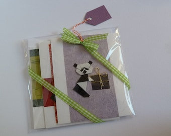 Panda Love Card Set, Set of 3 Cards, Handmade Origami Panda Cards, Three Cards, Different Sizes, Blank, Birthday, Wedding, Various Occasions
