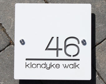 Modern House Number Door Sign Large Square 20cm x 20cm Original and Unique Laser Cut Bespoke/Customised with Road/ House Name