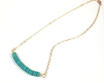 Turquoise and 14K Gold Filled Necklace, Turquouse and Gold Filled Bar Necklace, Turquoise Necklace, Turquoise and Sterling Silver Necklace