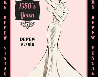 Vintage Sewing Pattern 1950s Evening Gown or Wedding Dress in Any Size - PLUS Size Included - Depew 7080 -INSTANT DOWNLOAD-