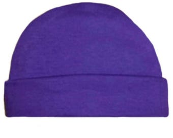 Purple Capped Baby Hat. 100% Cotton Knit. Double Thick with a Built in Cap to Stay on Baby's Head. Preemie, Newborn Sizes to 6 Months