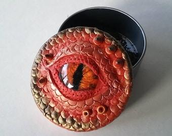 Dragon eye tin, one of a kind, tobacco tin, stash tin, handpainted dragon eye, polymer clay dragon