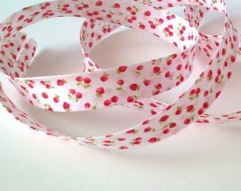 Folded bias fancy strawberries and cherries pattern