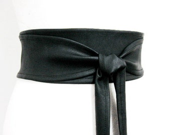 BESTSELLER Black Obi belt wide Waist cincher belt leather imitation Corset belt Cinch double wrap