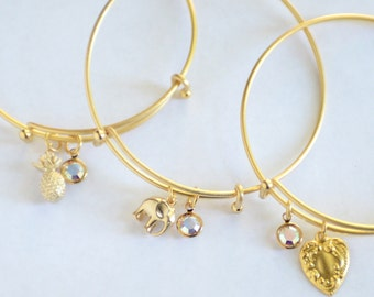 Your Choice of 18k Matte Gold Bangle Elephant, Pineapple, or Heart with Swarovski Crystal Expandable Charm Bracelet, Gold Bracelet, Gift Box