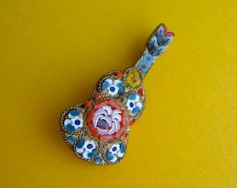 Vintage Venetian Mosaic Guitar Pin