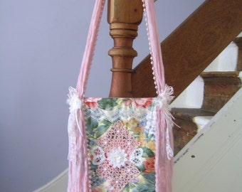 Floral Shoulder Bag Romantic Shabby Chic Fabric and Lace Handmade Cross Body Bag