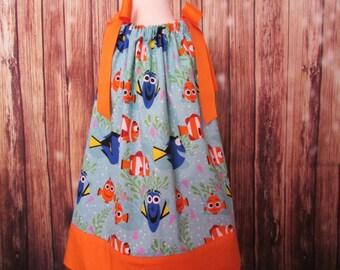 Dory Pillowcase dress, Dory fish dress, Dory sundress, Dory with Nemo Pillowcase dress, Under the Sea pillowcase dress