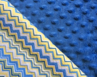 Baby Car Seat Canopy COVER or NURSING Cover: Blue and Yellow Chevrons with Blue Minky, Personalization Available