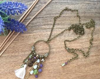 Lemon green, purple & off white mini tassel long necklace - colourful necklace - bohemian, hippie, ibiza style - pendant chain necklace
