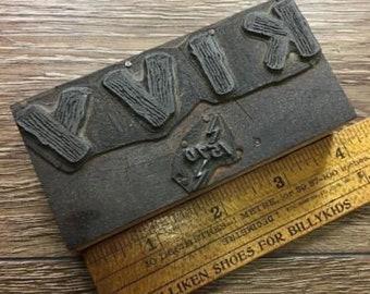 Vintage Letterpress Printer Block KIVY Radio Station 1570 Logo Type Stamp
