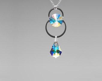 Swarovski Crystal Pendant, Industrial Jewelry, Swarovski Necklace,  Crystal AB Swarovski Crystals, Wire Wrapped, Bridal Jewelry, Kalyke v4