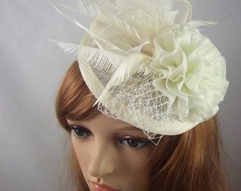 Ivory Cream Disc Sinamay Ruffle Fascinator - Occasion Wedding Races Hat