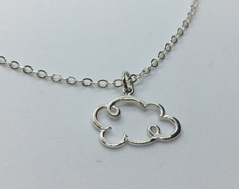Solid Sterling Silver Cloud Necklace. Add A Charm, Small Version Charm Necklace or Pendant. Nature Jewelry, Cloudy Necklace. Great Gift!