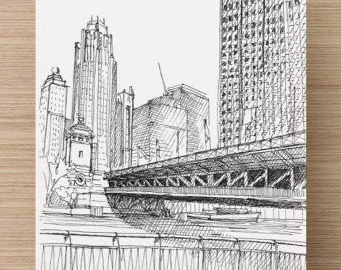 Ink Sketch of the Michigan Avenue Bridge in Chicago - Drawing, Art, Architecture, River, Urbansketcher, 5x7, 8x10, Print