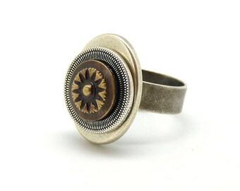 Small romantic Sun metal ring by KUMKA / a Best seller!