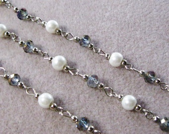 """One Meter 39.5"""" Faceted Purple Rondelle and White Pearl Glass 6mm Beaded Rosary Chain Antique Silver 979-05"""