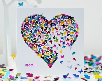 Mom Butterfly Card, Mom Mothers Day Card, Mom Birthday Card, Mom Butterfly Heart Card, Mom's Day Card, Mom Heart Card, I Love Mom Card