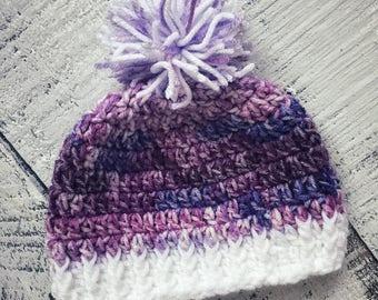 Crocheted Purple Babygirl Beanie