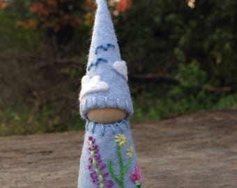 Flower gnome, waldorf inspired natural peg doll, felt and cotton, nature table features
