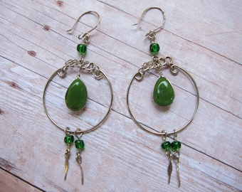 Vintage Green Glass Wire Wrapped Earrings