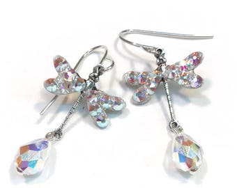 Dragonfly Earrings - Dragonfly Jewelry - Swarovski Crystal AB