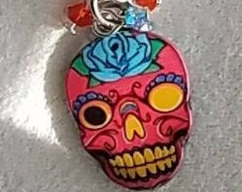 Dia De Los Muertos, day of the dead, sugar skulls earrings with crystals