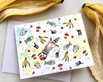 Raccoon Card, Raccoon Note Card, Blank Note Card