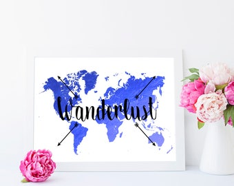 Wanderlust - foil print, gift for travellers, wanderlust print, map print, home decor