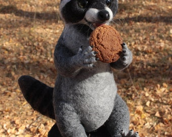 Made to order (this very item is alredy SOLD) Raccoon soft sculpture, Felted animal, Faux taxidermy, posable art doll, Woodland animals