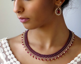 Red statement necklace and earring set, Anniversary gifts for women, Burgandy jewelry set, Special occasion jewelry
