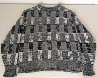 Regent Row Vintage Checker Board Knit Sweater Crewneck Orlan Acrylic Mens Large