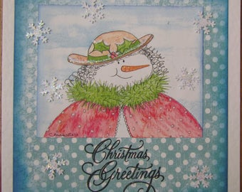 """Handmade 6x6 """"Christmas Greetings"""" snowlady card - For family or friends"""