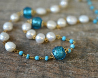 White Baroque pearl necklace Turquoise necklace Long beaded rosary chain necklace Venetian Murano glass necklace