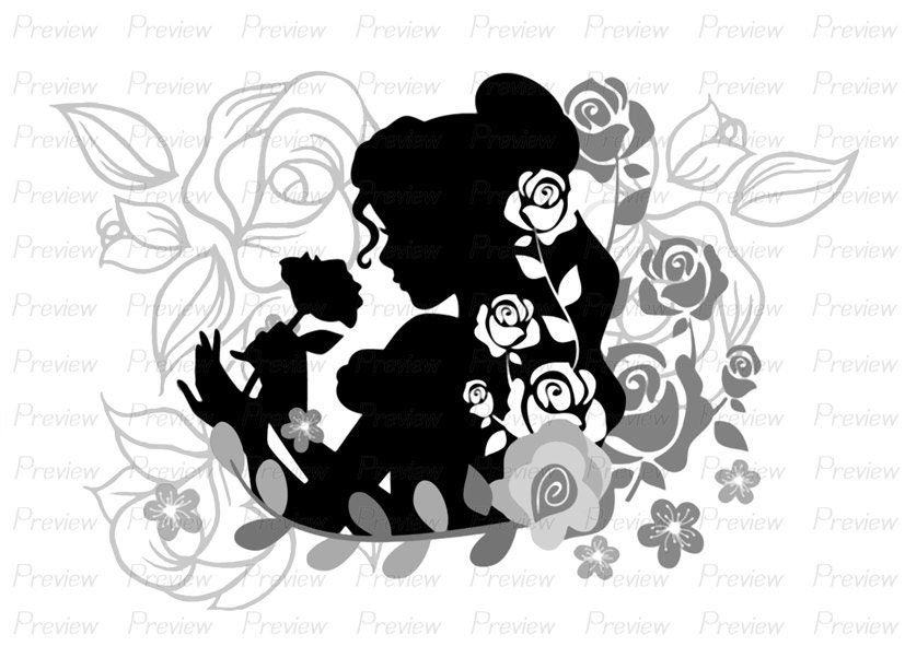 Digital Stamp Belle Beauty And The Beast Flower Disney