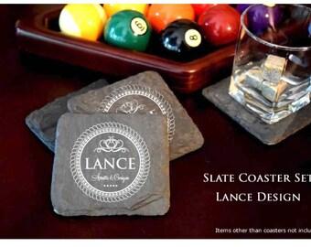 Slate Coaster Set. Laser Etched with LANCE design