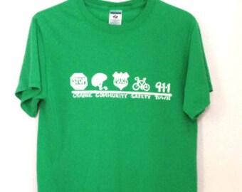 T-shirt Green Vintage Safety Town Vintage Shirt Safety Shirt SOFT Shirt Safety Green Shirt Tee Shirt Men Women Size Small Shirt Logo Shirt
