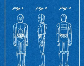 CLEARANCE - Star Wars C-3PO Patent Print - 16x20 Blueprint with Border