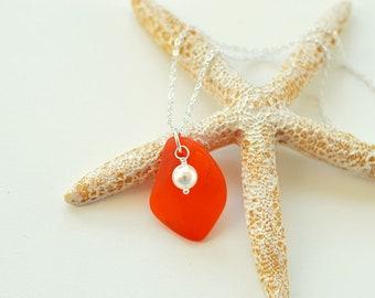 Orange sea glass necklace with white pearl seaglass jewelry Swarovski pearl sterling silver necklace seaglass necklace sea glass jewelry
